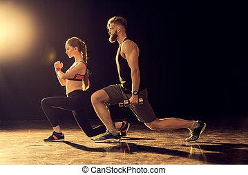 opleiding, vrouw, Sportief, jonge,  black,  man, Bovenkant, aanzicht