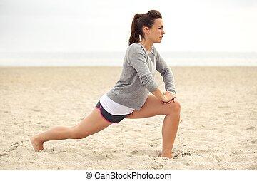 opleiding, vrouw, strand,  fitness