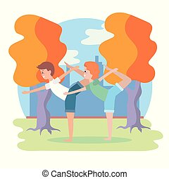 opleiding, vrouw, yoga houding, man