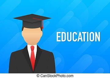 opleiding, website., held, illustration., onderwijs, process., vector, liggen