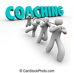opleiding, woord, coachend, bewindvoering, team, getrokken, oefening