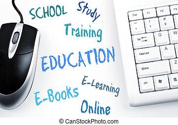 opleiding, woord, plan, en, computer toetsenbord