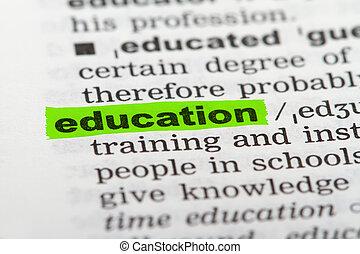 opleiding, woord, woordenboek