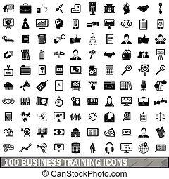 opleiding, zakenbeelden, set, stijl, eenvoudig, honderd