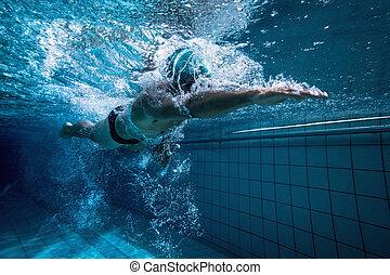 opleiding, zichzelf, passen, zwemmer