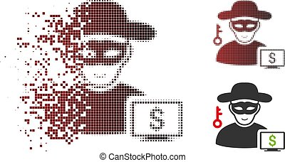 oplossen, dief, halftone, computer, pixelated, pictogram