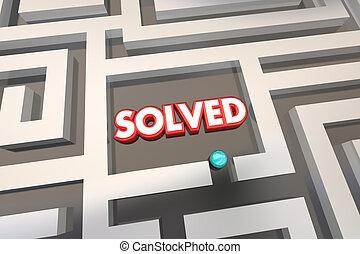 oplossing, illustratie, opgeloste, doolhof, probleem, 3d