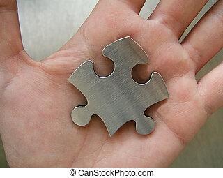 oplossing, in, hand