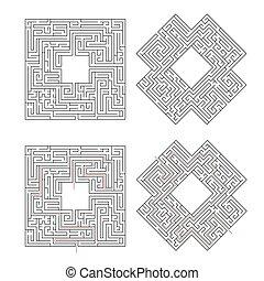 oplossing, vrijstaand, gecompliceerd, steegjes, labyrinths, wit rood