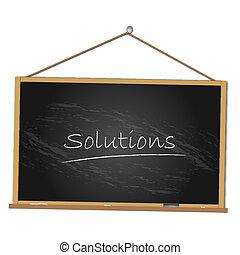 oplossingen, illustratie, chalkboard