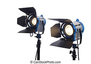 oplyst, isoleret, belysning, white., to, udrustning, lamper