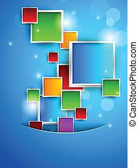 oplzlý grafické pozadí, s, barvitý, čtverhran