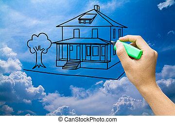 oplzlý podnebí, rukopis, domů, sen, kreslení