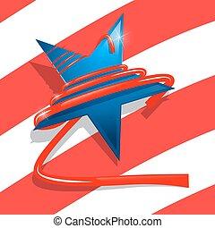 oplzlý zlatý hřeb, s, červeň, ribbon., usa, znak, -, američanka vlaječka, abstraktní, grafické pozadí., samostatný příjem den, pattern.