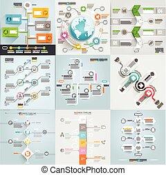opmaak, tijdsverloop, template., workflow, zijn, spandoek, ontwerp, opties, communie, web, mal, infographic, diagram, zakelijk, gebruikt, groenteblik, getal