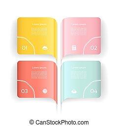 opmaak, vector, workflow, zijn, opties, illustration., opties, web, diagram, infographics, gebruikt, groenteblik, banner., moderne, design., getal
