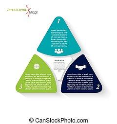 opmaak, workflow, presentatie, zijn, opties, ontwerp, web handel, triangles., infographic, diagram, of, gebruikt, groenteblik, ontwerp, grafisch, getallen