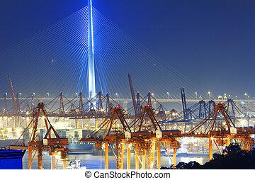 opmagasinere, industriel, havn, beholdere, cargoes