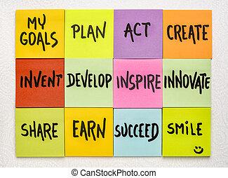 opmerkingen, concept, mijn, doelen, kleverig