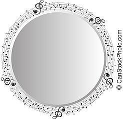opmerkingen, frame, muziek, cirkel, mal