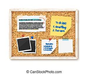 opmerkingen, gescheurd, informatietechnologie, foto's, stukken, papierbord, post, bulletin