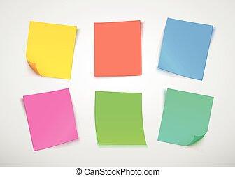 opmerkingen., informatietechnologie, veelkleurig, papier, note., post