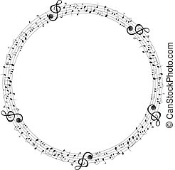 opmerkingen, muziek, frame, ronde, schalen