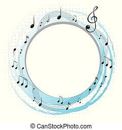 opmerkingen, muziek, ronde, frame, schalen