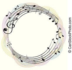 opmerkingen, muziek, ronde, frame