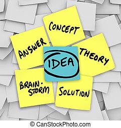 opmerkingen, oplossing, gele, idee, woorden, kleverig,...