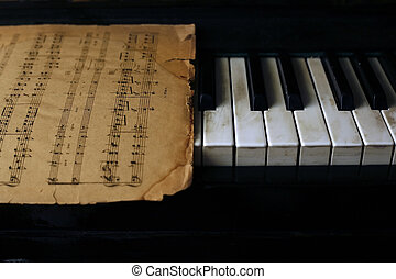 opmerkingen, oud, pianotoetsenbord