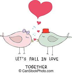opmerkingen, paar, muziek, vogels, kus