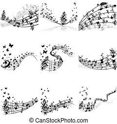 opmerkingen, set, muzikaal personeel