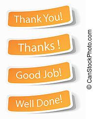 opmerkingen, stickers, u, danken