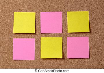 opmerkingen, zes, kleverig, plank, herinnering, kurk