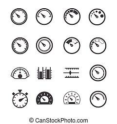 opmeting, circulaire, meter, iconen