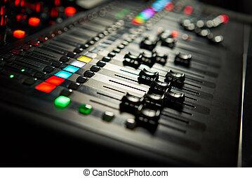 opname, audio, studio, console., professioneel, equipment., vermenging