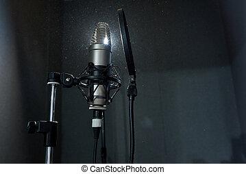 opname, donker, microfoon, studio