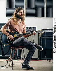 opname, guitarist, studio, spelend