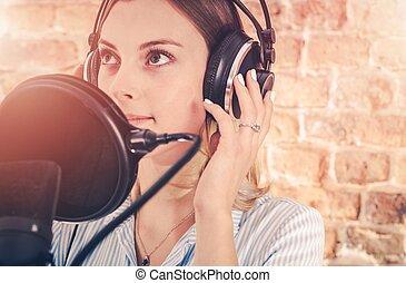 opname, meisje, audio, studio