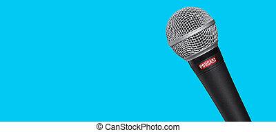 opname, microfoon, blauwe , studio, podcasts, achtergrond, op
