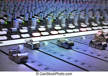 opname, vermenging, studio, console