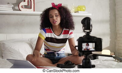 opname, vlog, blog, fototoestel, video, thuis, meisje