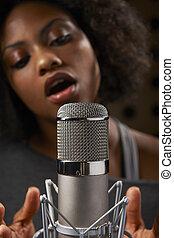 opnamestudio, vocalist, vrouwlijk