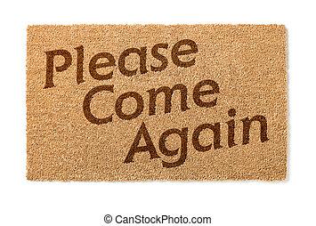 opnieuw, mat, welkom, alstublieft, witte , komen