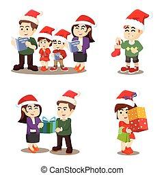 opnieuw, set, gezin, cristmas, spotprent