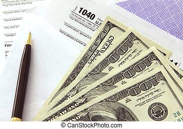 opodatkować, 100, dzioby, dolar, papiery