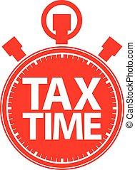 opodatkować, czas, stoper, czerwony, ikona, wektor,...