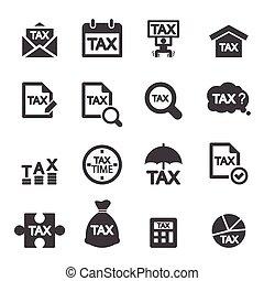 opodatkować, ikona, komplet
