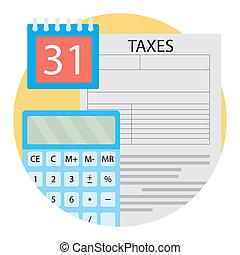 opodatkowanie, dzień, ikona, wektor